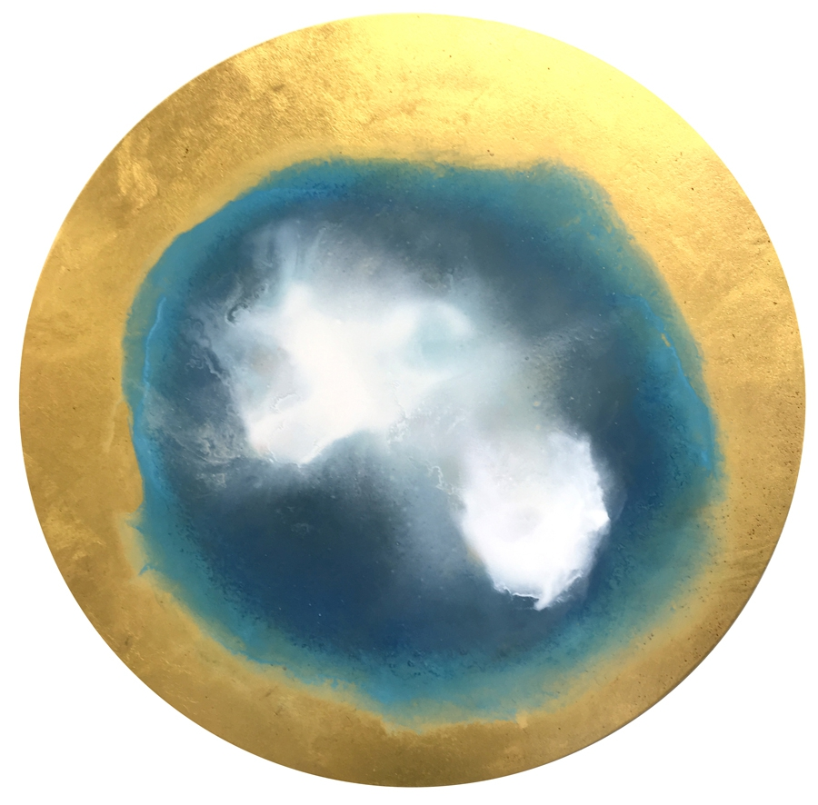 "Watching the Sky, 15"" diameter, oil with 23k gold on panel."